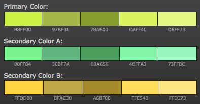 opciones paleta de colores para blog colores calidos análogos verdes