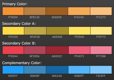 opciones paleta de colores para blog colores calidos análogos + complementario naranja