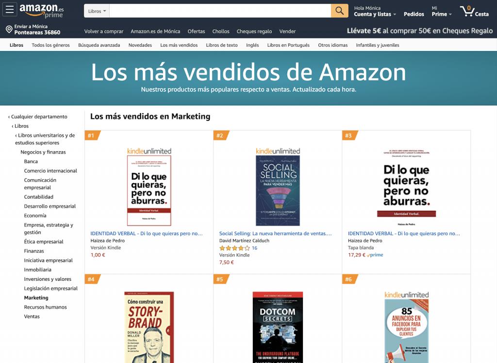 Bestseller en la categoría de márketing Amazon Identidad Verbal Haizea de Pedro Di lo que quieras pero no aburras MEJORES LIBROS SOBRE BRANDING