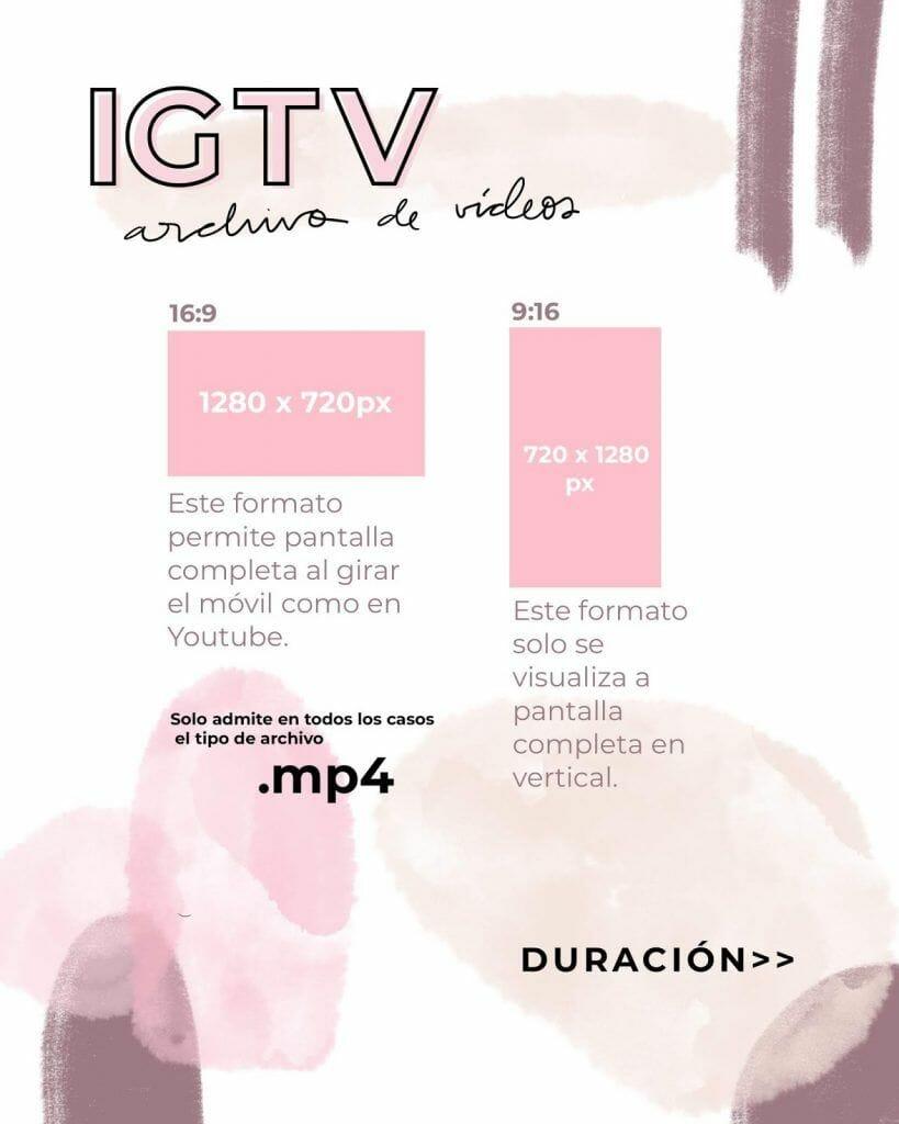 Tamaño de vídeo vertical y horizontal tipo youtube para IGTV en Instagram