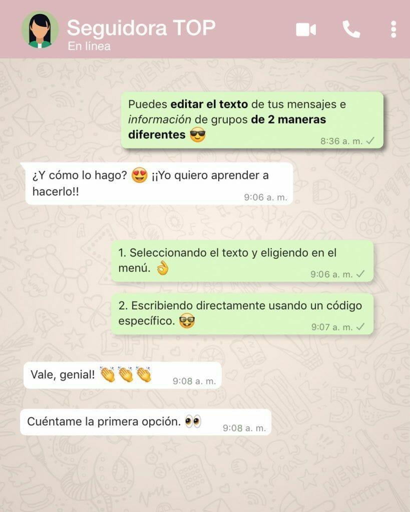 editar texto en whatsapp