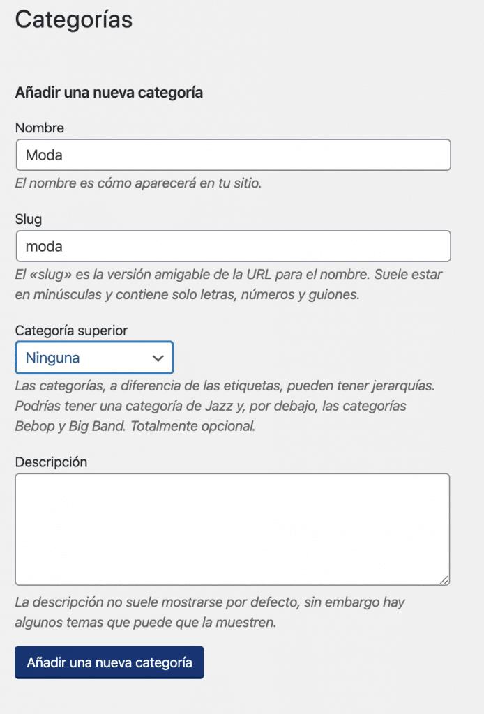 como usar las categorías en WordPress de manera correcta