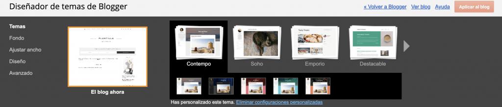 personalización plantilla blogger configuracion